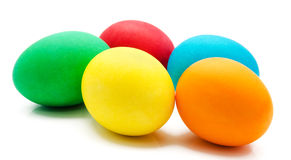 Colorful easter eggs isolated over white Stock Photos