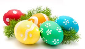 Colorful easter eggs isolated over white Royalty Free Stock Photos