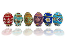 Colorful easter eggs isolated over white Stock Images