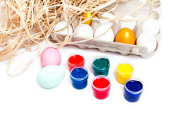 Colorful easter eggs  isolated on white background. Paint cans Royalty Free Stock Photography