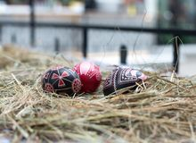 Colorful Easter eggs in a little basket. Easter background, spring themes Royalty Free Stock Image
