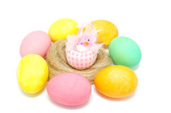 Colorful Easter eggs and little chick Stock Photo