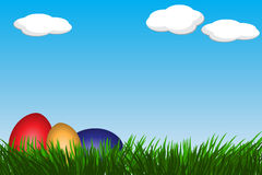 Easter eggs. Colorful Easter eggs on meadow Royalty Free Stock Image