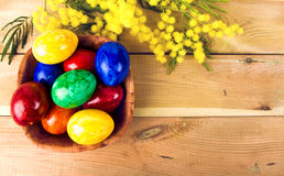 Colorful easter eggs with mimosa. Easter eggs and mimosa Stock Photos