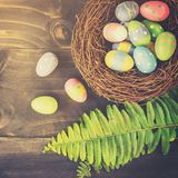 Colorful easter eggs in neat and green leave on table wooden background with space royalty free stock images