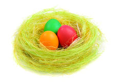 Colorful easter eggs in nest Stock Photo