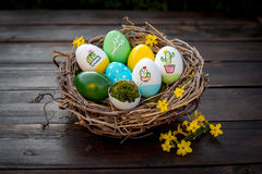 Colorful Easter Eggs. In a nest Stock Image