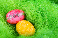 Colorful easter eggs in nest as traditional detail of Easter hol Royalty Free Stock Photography