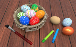 Colorful Easter eggs in a nest. 3D Illustration. Colorful Easter eggs in a nest on old wood background. 3D Illustration Stock Photo