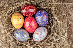 Colorful Easter eggs in nest from hay. Stock Photography