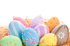 Colorful Easter eggs in the nest Royalty Free Stock Image