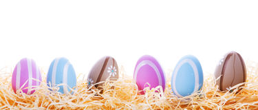 Colorful Easter eggs in the nest Stock Photo