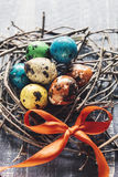 Colorful Easter eggs in the nest Royalty Free Stock Photography