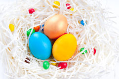 Colorful Easter eggs in nest on white background. Colorful Easter eggs and candies in nest on white background Royalty Free Stock Photos