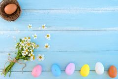 Colorful Easter eggs in nest with wildflowers on on rustic wooden planks background in blue paint. stock image
