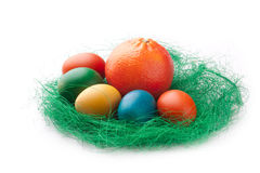 Colorful Easter Eggs with an orange Stock Photography