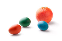 Colorful Easter Eggs with an orange Stock Photos