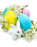 Colorful Easter eggs over white. Some colorful Easter eggs over white stock image