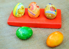 Colorful easter eggs. Colorful painted easter eggs decorated in decoupage style Stock Photo