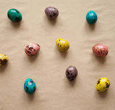 Colorful Easter eggs. Painted quail eggs. Happy Easter. Colorful Easter eggs. Painted quail eggs. pattern Royalty Free Stock Photography