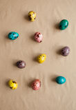 Colorful Easter eggs. Painted quail eggs. Happy Easter. Colorful Easter eggs. Painted quail eggs. pattern Stock Photos