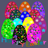 Colorful Easter eggs, pattern flower, Template Easter greeting card Royalty Free Stock Photography