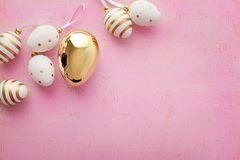 Easter eggs. Colorful easter eggs on pink background royalty free stock photos