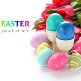 Colorful easter eggs and pink tulips over white with sample text Stock Images