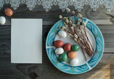 Colorful easter eggs and pussy willow, spring holidays concept. Selective focus, top view, space for text Stock Photography