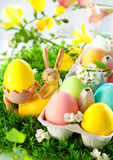 Colorful Easter Eggs and rabbit Royalty Free Stock Photo