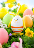 Colorful Easter Eggs and rabbit Royalty Free Stock Image