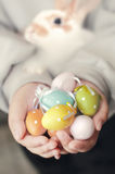 Colorful Easter eggs and rabbit in child hands. Royalty Free Stock Photos