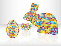 Colorful easter eggs and rabbit. Royalty Free Stock Images