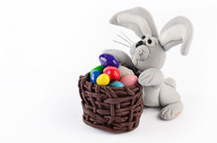 Colorful easter eggs and rabbit  on white. For decoration Stock Image