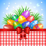 Colorful Easter eggs and red ribbon, bow Stock Image