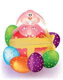 Colorful Easter eggs with ribbon and Bunny Rabbit Stock Images