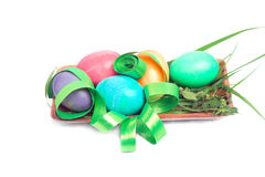 Colorful Easter eggs with ribbon Royalty Free Stock Photos