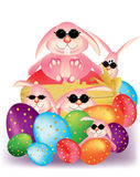 Colorful Easter eggs with ribbon and smart bunny r Royalty Free Stock Photo