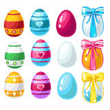 Colorful Easter eggs with ribbon and without Stock Images
