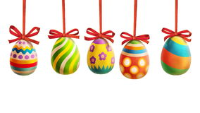 Colorful Easter Eggs with ribbons Royalty Free Stock Photography