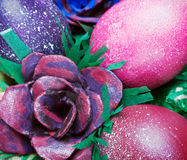 Colorful easter eggs and rose Stock Photos