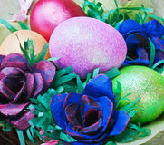 Colorful easter eggs and rose Royalty Free Stock Image