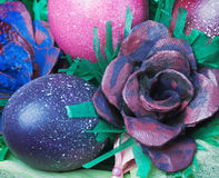 Colorful easter eggs and rose Stock Photography
