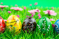 Colorful easter eggs in a row on green grass Stock Image