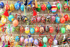 Colorful easter eggs in rows  for background Stock Photos
