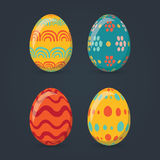 Colorful easter eggs set collection,  illustration. Easter eggs for Easter holidays design  on dark gray background. Stock Photography