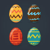 Colorful easter eggs set collection,  illustration. Easter eggs for Easter holidays design  on dark gray background. Royalty Free Stock Photo