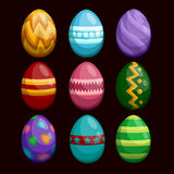 Colorful Easter eggs set isolated on dark Royalty Free Stock Photography
