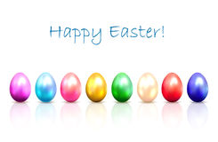 Colorful Easter eggs. Set of shiny colored Easter eggs with reflection  on a white background, illustration Stock Photography
