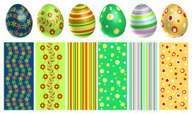 Colorful Easter eggs set with texture. Isolated on white background Royalty Free Stock Photos